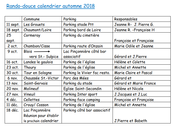 Calendrier automne 2018